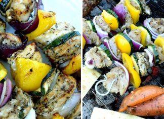 Křehké kuřecí kebaby v řeckém stylu