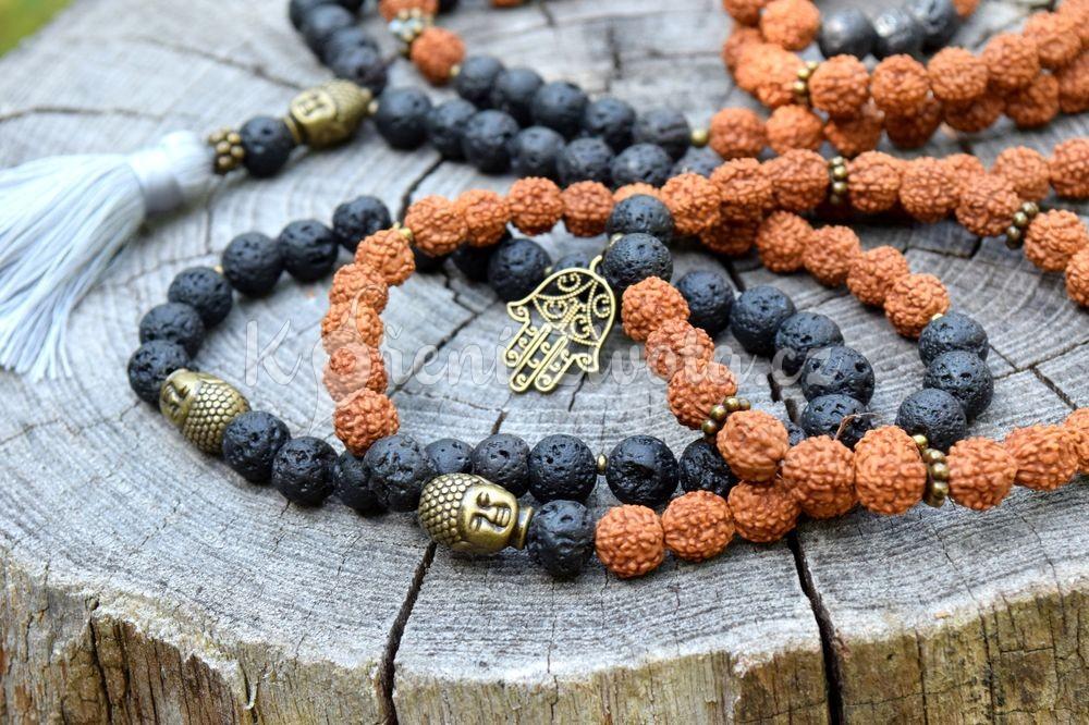 Šperky z lávových kamenů a semen rudraksha - inspirační fotografie jak vypadá set (není součástí produktu)