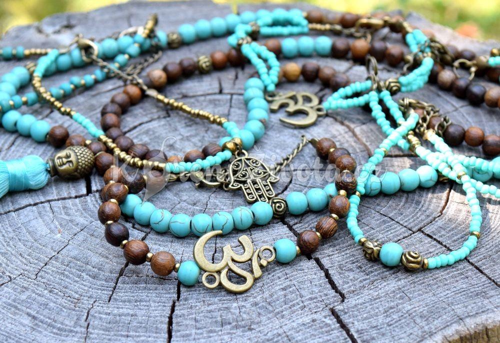 Šperky z dřevěných korálků a howlitu - inspirační fotografie jak vypadá set (není součástí produktu)