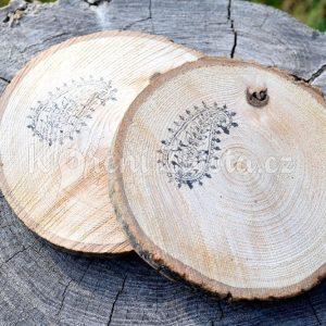 Dřevěné podtácky pod skleničku *PAISLEY*, ručně vypalované, sada 2 ks