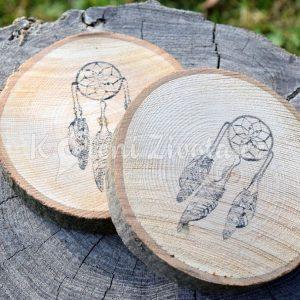 Dřevěné podtácky pod skleničku *Lapač snů*, ručně vyráběné, sada 2 ks