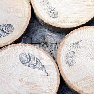 Dřevěné podtácky pod skleničku *FEATHERS*, ručně vyráběné, sada 4 ks
