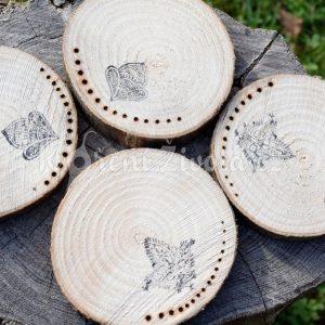 Dřevěné podtácky pod skleničku *NATURAL*, ručně vypalované, sada 4 ks