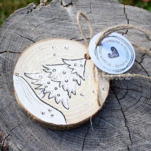 Ručně malovaná vánoční dřevěná ozdoba *POD STROMEČEK*