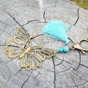 ~INSPIRACE~ Kovový přívěsek na klíče s motýlem a tyrkysem