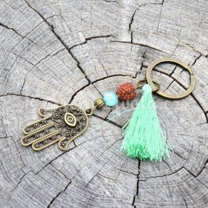 ~ŽIVO(T)~ Kovový přívěsek na klíče s Fátiminou rukou a rudrakshou