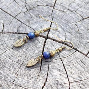 ~INSPIRACE~ Visací náušnice s lapisem lazuli, lístečky