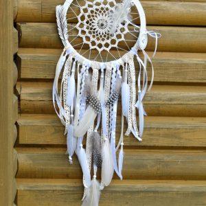 ~MEDITACE~ Ručně vyráběný krajkový lapač snů s jaspisem, průměr 22 cm