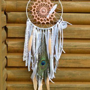 ~OPTIMISMUS~ Ručně vyráběný krajkový lapač snů s jaspisem, průměr 20 cm