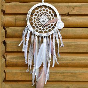 ~NĚŽNOST~ Ručně vyráběný krajkový lapač snů s howlitem, průměr 20 cm