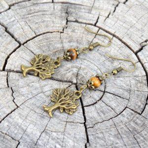 ~ENERGIE~ Visací náušnice s tygřím okem, strom života