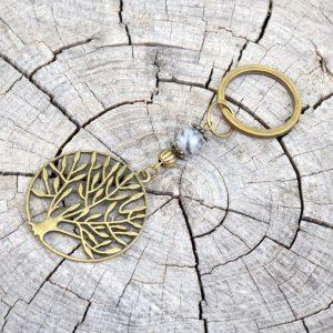 ~ROVNOVÁHA~ Kovový přívěsek na klíče se stromem života, jaspis