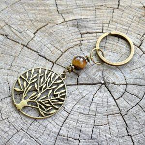 ~SÍLA (ZE)MĚ~ Originální přívěsek na klíče strom života, tygří oko