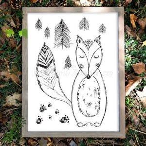 Autorský ilustrovaný plakát *LIŠÁK MATĚJ*, formát A3, bez rámu