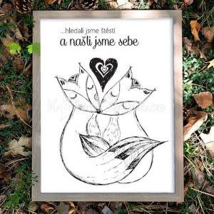 Autorský ilustrovaný plakát *HLEDALI JSME ŠTĚSTÍ*, formát A3, bez rámu