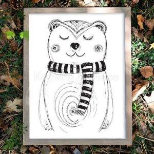 Autorský ilustrovaný plakát *MÉĎA RÍŠA*, formát A3, bez rámu