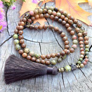 ~(POD)VĚDOMÍ~ Modlitební korále mála ze dřeva a unakitu, 108 korálků
