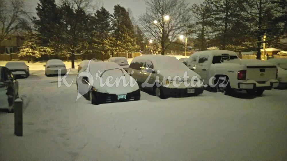 Zasněžená auta v Kanadě.