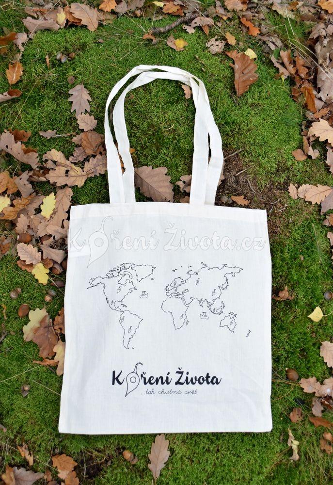 43cdc47a8 Plátěná taška s potiskem mapy světa, 39 x 41 cm | KořeníŽivota.cz