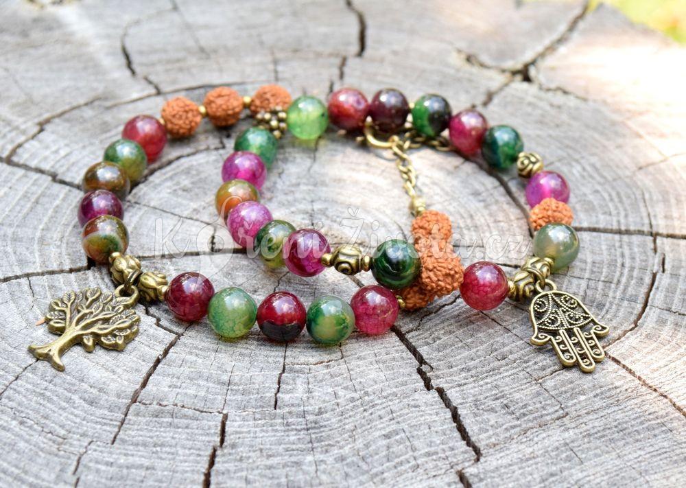 Šperky z turmalínu- inspirační fotografie jak vypadá set (druhý náramek není součástí produktu)