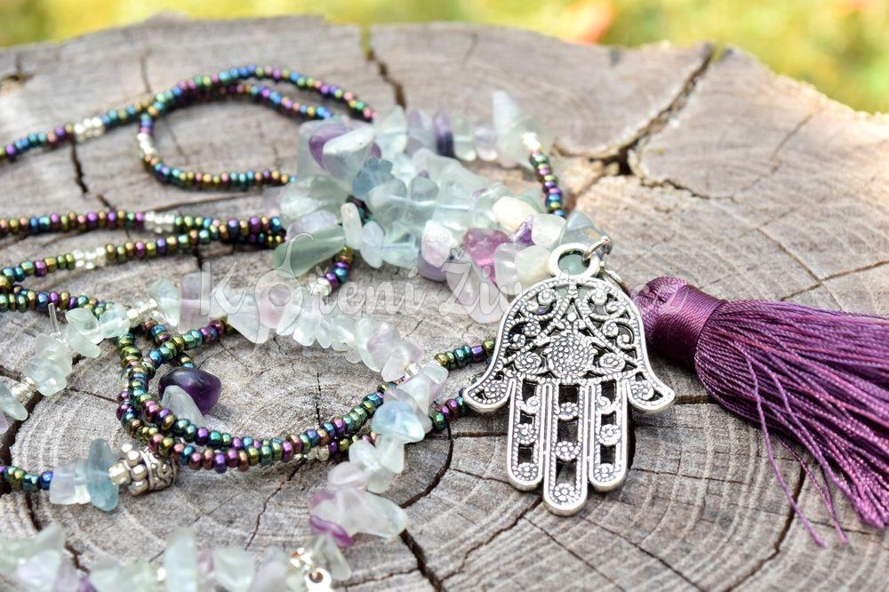Šperky z fluoritu - inspirační fotografie jak vypadá set (není součástí produktu)