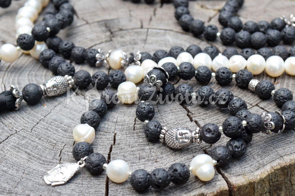 Šperky z lávových kamenů a perel - inspirační fotografie jak vypadá set (není součástí produktu)