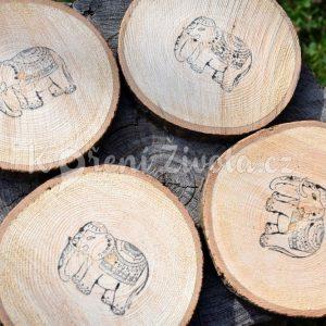 Dřevěné podtácky pod skleničku *INDIA*, ručně vyráběné, sada 4 ks