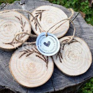 Dřevěné podtácky pod skleničku *FOREST*, ručně vypalované, sada 4 ks