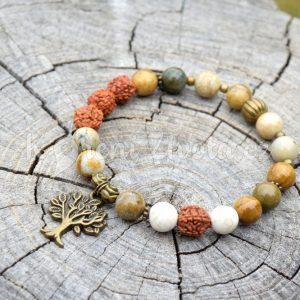 ~(POD)VĚDOMÍ~ Náramek rudraksha s jaspisem, přívěsek strom života