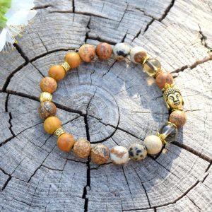 ~INTUICE~ Náramek z jaspisu, záhnědy a santalového dřeva, Buddha