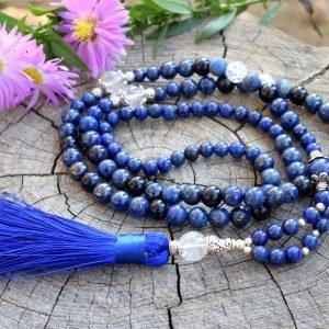 ~MÍR~ Luxusní modlitební korále mála z lapisu lazuli a křišťálu