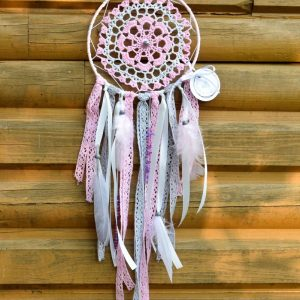 ~RADOST~ Ručně vyráběný krajkový lapač snů s jaspisem, průměr 15 cm