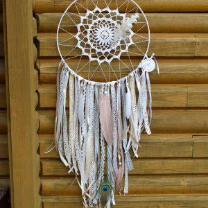 ~MEDITACE~ Ručně vyráběný krajkový lapač snů, magnezit, průměr 30 cm