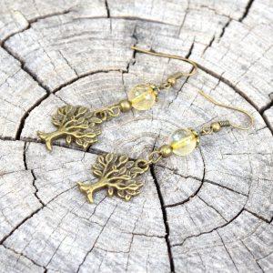 ~BUDOUCNOST~ Visací náušnice s citrínem, strom života