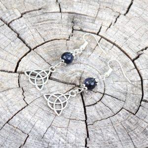 ~(VE)SMÍR~ Visací náušnice s modrým avanturínem, keltský trojúhelník