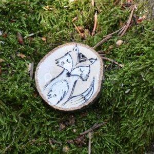 Ručně malovaná dřevěná brož *LIŠÁK MELICHAR*