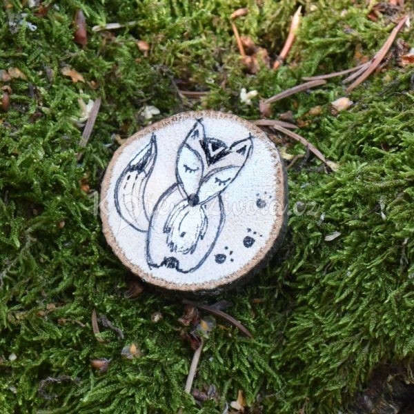 Ručně malovaná dřevěná brož *LIŠÁK MATĚJ*