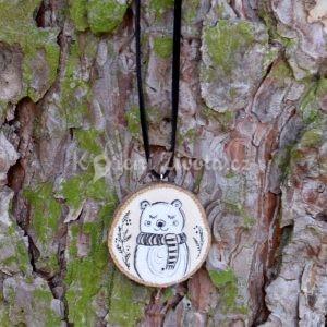 Ručně malovaný dřevěný náhrdelník - medailonek *MÉĎA ŘÍŠA*
