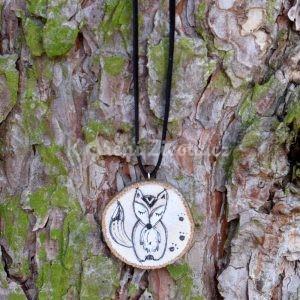 Ručně malovaný dřevěný náhrdelník - medailonek *LIŠÁK MATĚJ*