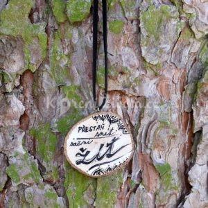 """Ručně malovaný dřevěný náhrdelník - medailonek """"Přestaň snít, začni žít!"""""""