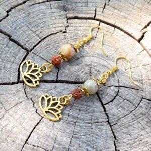 ~INTUICE~ Visací náušnice rudraksha s lotosovým květem a jaspisem
