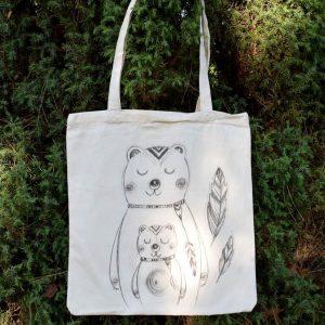 Ručně malovaná plátěná taška *MEDVĚDÍ LÁSKA*, 38x42 cm