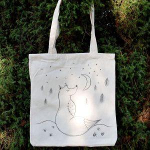 Ručně malovaná plátěná taška *NA MĚSÍC*, 38x42 cm