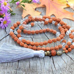 ~HARMONIE~ Modlitební korále mála rudraksha s křišťálem, 108 korálků