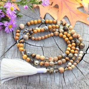 ~NAMASTÉ~ Modlitební korále mála ze santalového dřeva a jaspisu, 108 korálků