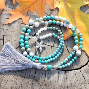 ~OCEAN~ Modlitební korále mála z tyrkysu a howlitu, 108 korálků