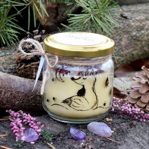 Ručně malovaná přírodní vonná svíčka zdobená minerály *NA MĚSÍC*, sojový vosk