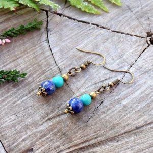 ~INSPIRACE~ Visací náušnice s tyrkysem a lapisem lazuli