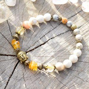 ~BUDOUCNOST~ Buddha náramek z jantaru, citrínu a bílého tyrkysu