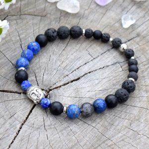 ~MÍR~ Pánský náramek z lapisu lazuli, lávového kamene a onyxu, Buddha